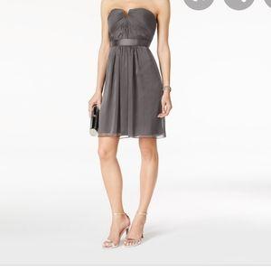 ADRIANNA PAPELL SHIRRED STRAPLESS DRESS GUNMETAL